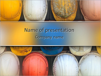 Old and worn colorful construction helmets PowerPoint Template