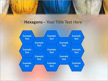 Old and worn colorful construction helmets PowerPoint Templates - Slide 24