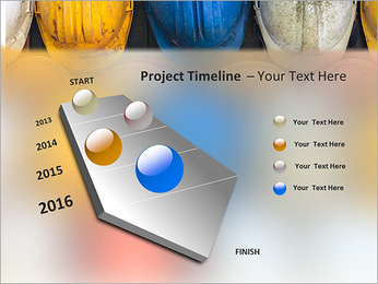 Old and worn colorful construction helmets PowerPoint Templates - Slide 6