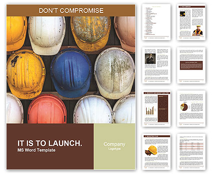 Old and worn colorful construction helmets Word Template