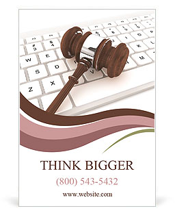 Justice Gavel and keyboard on a white background Ad Template