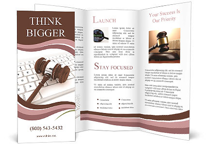 Justice Gavel and keyboard on a white background Brochure Templates