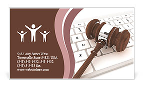 Justice Gavel and keyboard on a white background Business Card Template