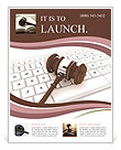 Justice Gavel and keyboard on a white background Flyer Templates