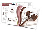 Justice Gavel and keyboard on a white background Postcard Template