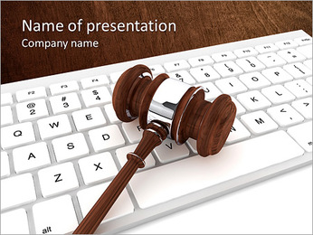 Justice Gavel and keyboard on a white background PowerPoint Template