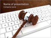 Justice Gavel and keyboard on a white background PowerPoint Templates