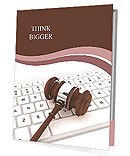 Justice Gavel and keyboard on a white background Presentation Folder