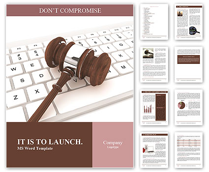 Justice Gavel and keyboard on a white background Word Templates