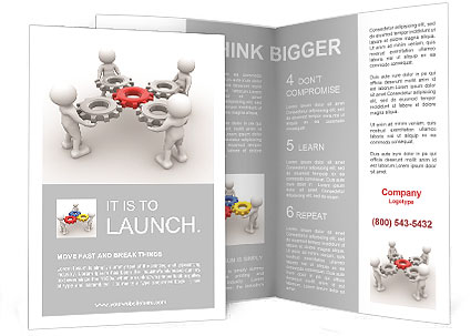 3d people - man, person with gear mechanism. Brochure Templates