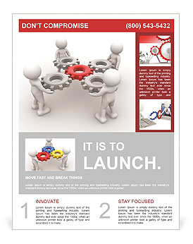 3d people - man, person with gear mechanism. Flyer Template