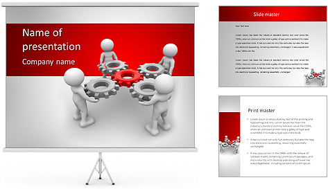 3d people - man, person with gear mechanism. PowerPoint Template