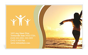 Woman Enjoys Sunset Business Card Template