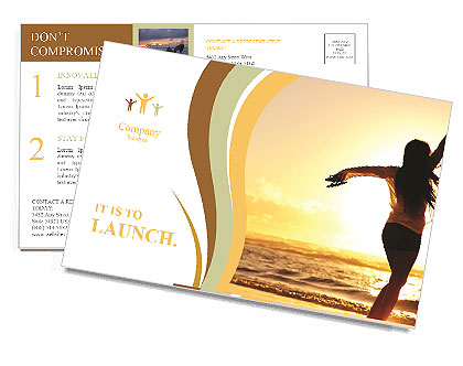 Woman Enjoys Sunset Postcard Template