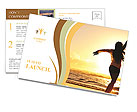 Woman Enjoys Sunset Postcard Templates