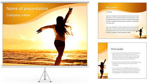 Woman Enjoys Sunset PowerPoint Template