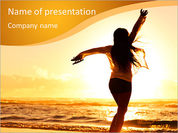 Woman Enjoys Sunset PowerPoint Template