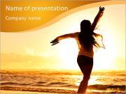 Woman Enjoys Sunset PowerPoint Templates