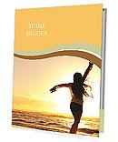 Woman Enjoys Sunset Presentation Folder