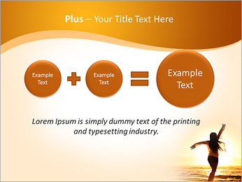 Woman Enjoys Sunset PowerPoint Template - Slide 55