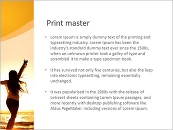 Woman Enjoys Sunset PowerPoint Template - Slide 76