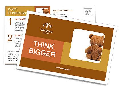 Brown Teddy Bear Postcard Template
