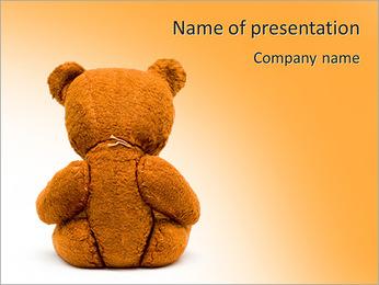 Brown Teddy Bear PowerPoint Template - Slide 1