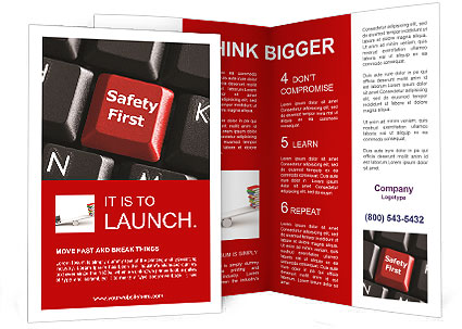 Safety First Button Brochure Templates