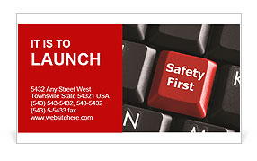 Safety First Button Business Card Templates