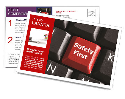 Safety First Button Postcard Templates