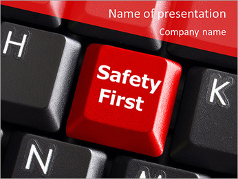 Safety First Button PowerPoint Template - Slide 1