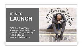 Stress At Work Business Card Template