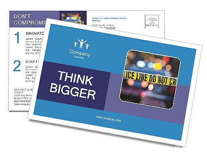 Police Line Postcard Template