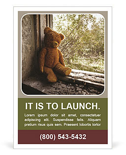 lonely teddy bear ad template design id 0000007612