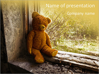 Lonely Teddy Bear PowerPoint Templates - Slide 1