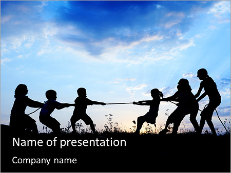 Children Pull Rope PowerPoint Templates