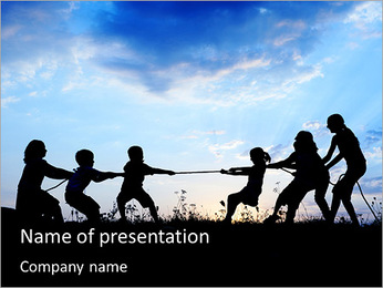 Children Pull Rope PowerPoint Template