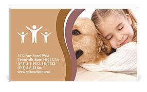 Girl Hugs Labrador Business Card Template