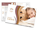 Girl Hugs Labrador Postcard Template