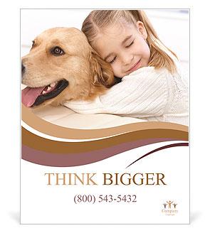 Girl Hugs Labrador Poster Template