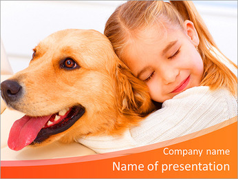 Girl Hugs Labrador PowerPoint Template - Slide 1
