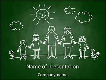 Family Drawing PowerPoint Template - Slide 1