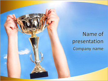 Golden Trophy PowerPoint Template - Slide 1