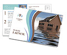 House In Water Postcard Template