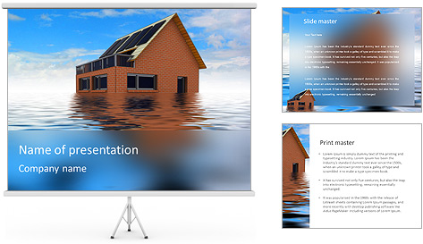 House In Water PowerPoint Template