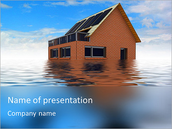 House In Water PowerPoint Template - Slide 1