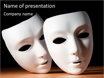 Thater Mask PowerPoint Template - Slide 1