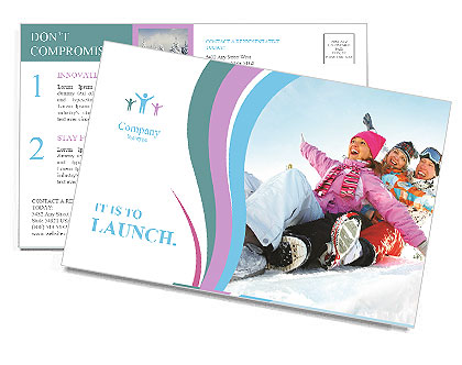 Winter Sled Postcard Template
