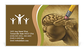 Draw Human Brain Business Card Template