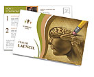 Draw Human Brain Postcard Template
